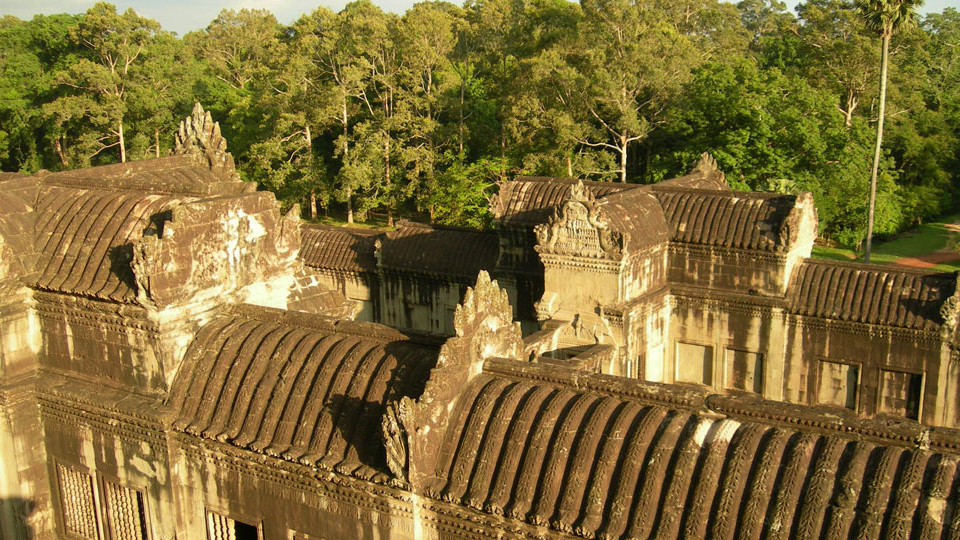Looking above the library of Angkor Wat temple - Cambodia
