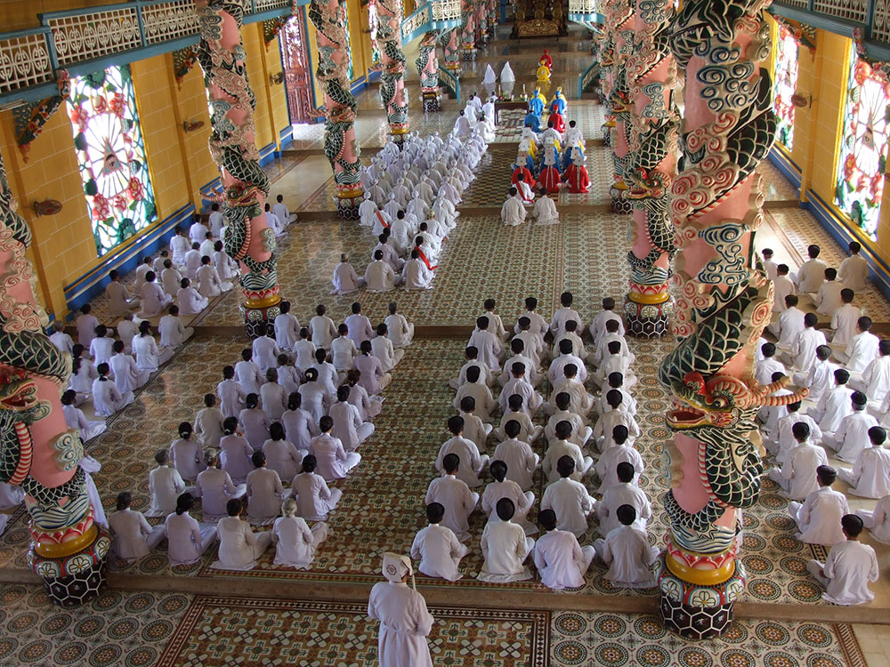 Noon mass inside CaoDai temple