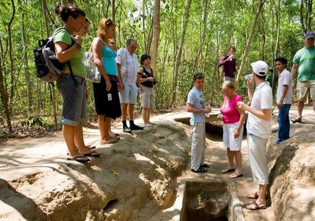 CuChi tunnels entrance from a trench