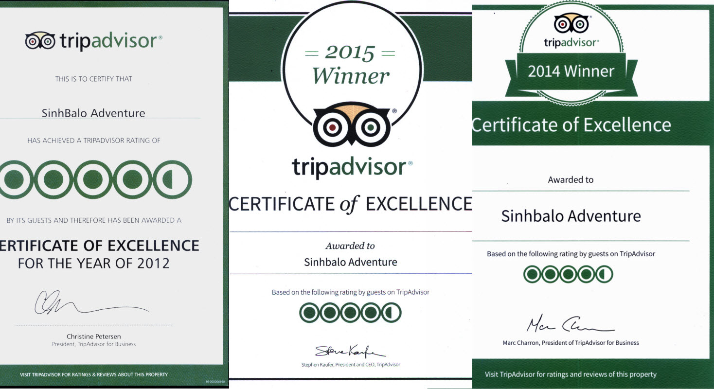 Tripadvisor winner for Sinhbalo