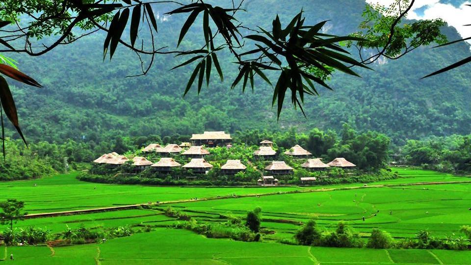Bungalows setting of Mai Chau lodge in Mai Chau Vietnam