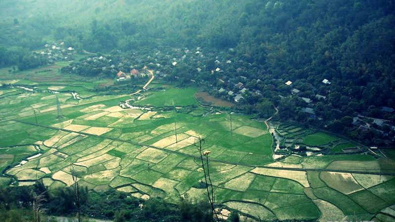 Rice paddies and villages of the Thai tribe in Mai Chau Vietnam
