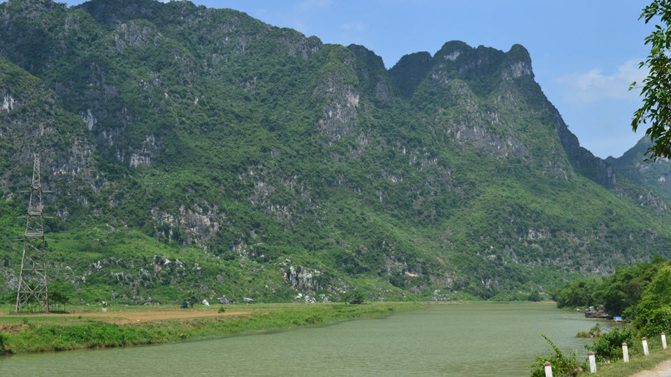 Scenery of limestone Karst mountain from Hanoi to Ninh binh