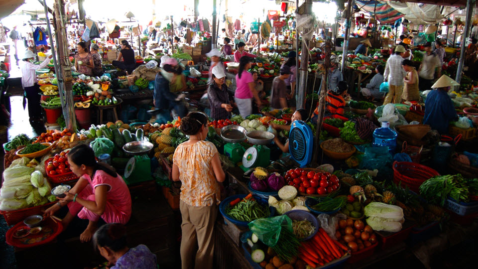 Vegetables market in Hoi an Vietnam