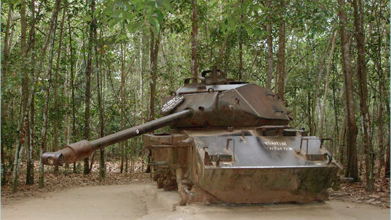 M41 tank attacked by VC in 1970 - CuChi tunnels tour