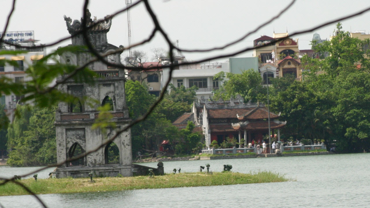 NgocSon temple in HoanKiem lake - Hanoi