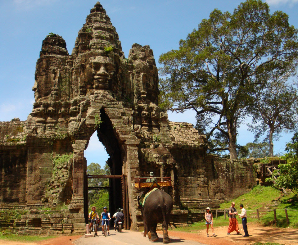 Gate to Angkor Thom temple - Siemreap Cambodia