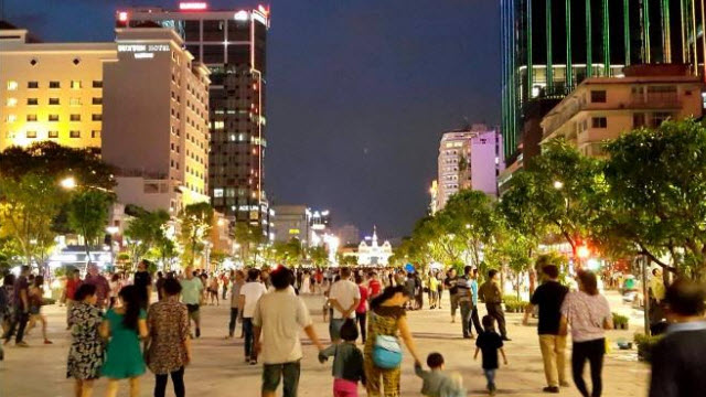 Nguyen Hue blvd at night in Ho Chi Minh city