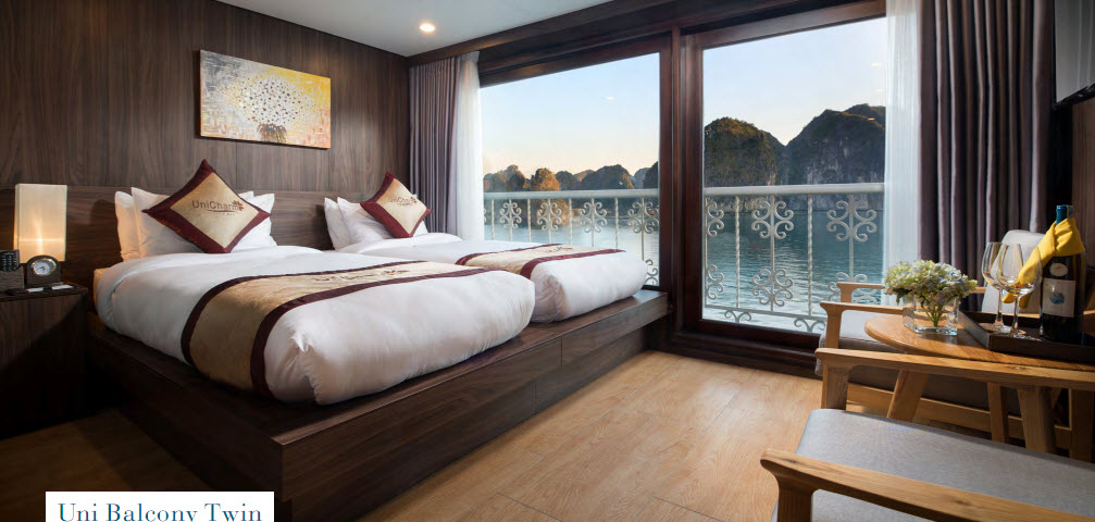 CatBa island Halong bay LanHa bay with UniCharm cruise | Uni Balcony Twin